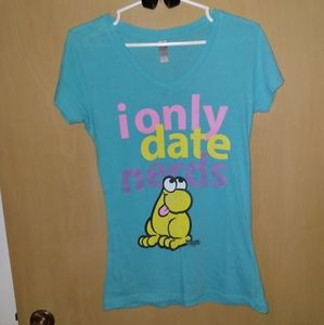 NWT Turquoise Next Level I Only Date Nerds Top